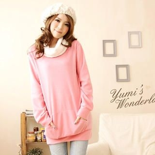 YUMI - Fleece-Collar Long Pullover