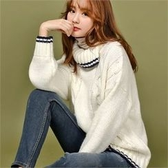 Styleberry - Contrast-Trim High-Neck Cable-Knit Sweater