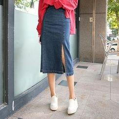 DABAGIRL - Slit-Side Midi Denim Skirt