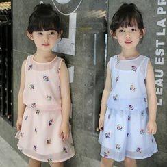 Momotaro - Kids Set: Embroidered Sleeveless Top + Camisole + A-Line Skirt