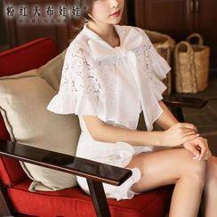 粉红大布娃娃 - 荷叶边系带领蕾丝衬衫