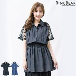 RingBear - Lace Sleeve Denim Long Top