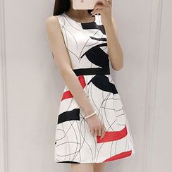 Lavogo - Printed Sleeveless A-Line Dress