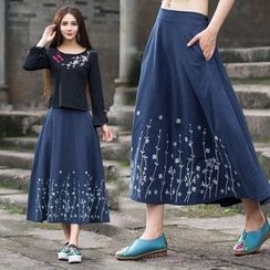 Diosa - Embroidered Linen Cotton Skirt