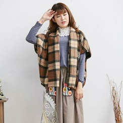 Blue Hat - Plaid Cape Jacket