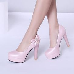 Pretty in Boots - Bow Platform Pumps