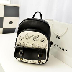 Bibiba - Cat Embroidered Faux Leather Backpack