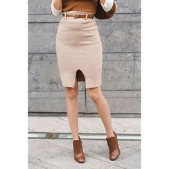 migunstyle - Slit-Front Knit Skirt With Belt