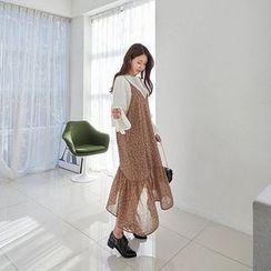 Seoul Fashion - Spaghetti-Strap Chiffon Dress