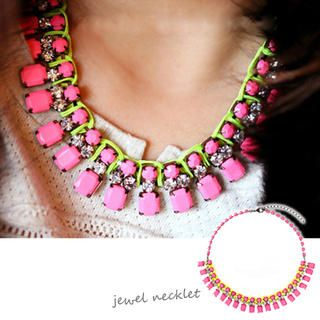 Clair Shop - Neon Jeweled Short Necklace
