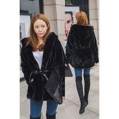 migunstyle - Tie-Waist Faux-Fur Jacket