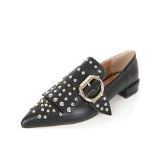 DABAGIRL - Pointy-Toe Buckled Studded Loafers