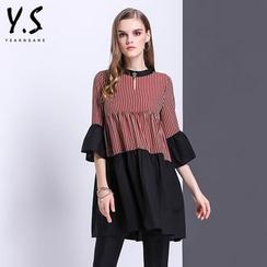 Y:Q - 條紋拼接喇叭袖A字連衣裙