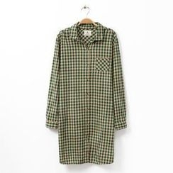 Rosadame - Long-Sleeve Plaid Blouse