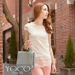 Tokyo Fashion - Cap-Sleeve Beaded Crochet Top