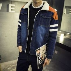 JORZ - Striped Color Panel Denim Jacket