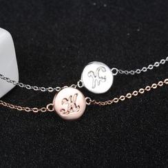 Zundiao - 银质压纹圆片手链