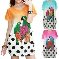 Hotprint - Rhinestone Parrot Print T-Shirt Dress