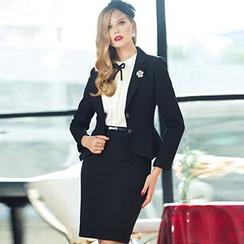 Aision - Double-Button Blazer / Pencil Skirt