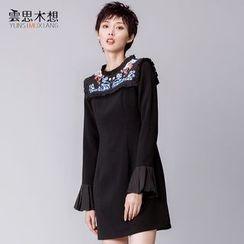 Cloudwood - Printed Bell-Sleeve Shift Dress