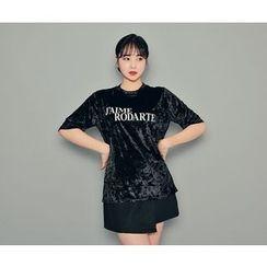 HOTPING - Lettering Velvet T-Shirt