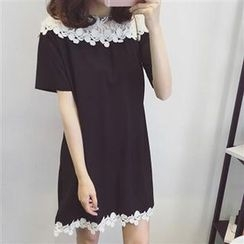Everose - 短袖鈎织拼接连衣裙
