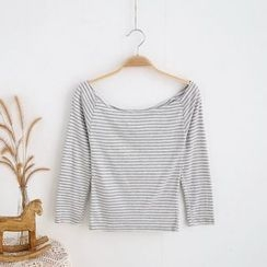 Janseed - Striped Off Shoulder Long Sleeve T-Shirt