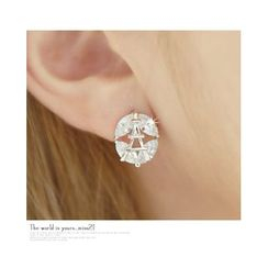 Miss21 Korea - Rhinestone Eiffel Tower Earrings