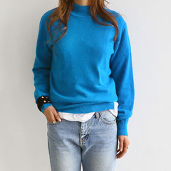 NANING9 - Mock-Neck Wool Blend Knit Top