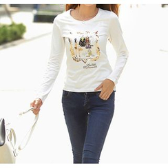 Zyote - Round-Neck Sequined T-Shirt
