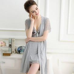 Sophine - Pajama Set: Lace-Panel Robe + Nightgown + Panties