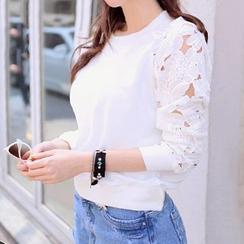Fashion Street - Cutout Lace Long-Sleeve T-Shirt