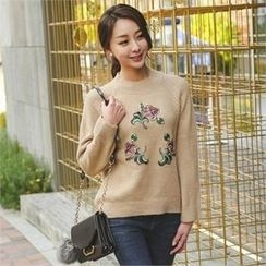 ode' - Crew-Neck Embroidered Sweater