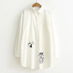 Suzette - Cat Embroidered Long Shirt