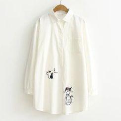 Suzette - 小貓刺繡長款襯衫