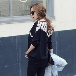 REDOPIN - Lace Panel Long-Sleeve Top