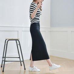 JUSTONE - Band-Waist Maxi Skirt