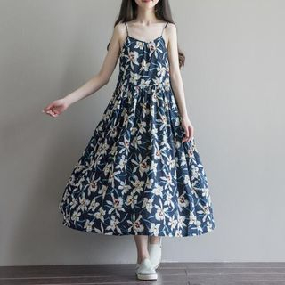 Snow Flower - Strappy Floral Midi Dress