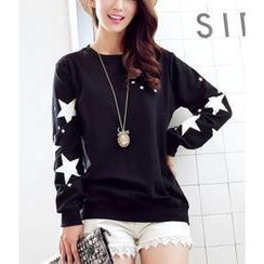 Sienne - Long Sleeved Star Print Sweatshirt