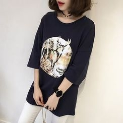 Little V - 3/4-Sleeve Printed T-Shirt