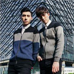 XINNI - Color-Block Zip Knit Jacket