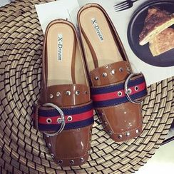 Super ME - Studded Buckled Backless Loafers