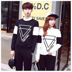 Azure - Couple Matching Triangle Printed Pullover