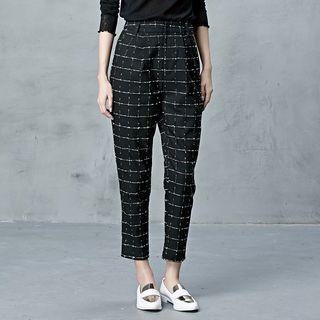 BORAN - Plaid Cropped Tapered Pants