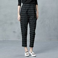 BORAN - Plaid Cropped Tapered Pants