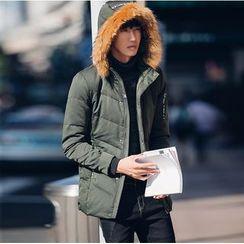 XINNI - Furry-Trim Hooded Zip Down Coat