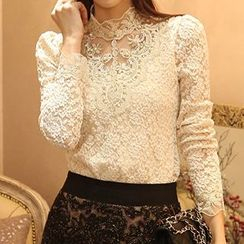 Lovebirds - Beaded Lace Blouse