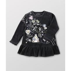 malimarihome - Kids Long-Sleeve Printed Ruffle Dress