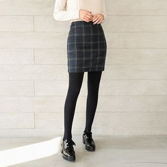 Seoul Fashion - Wool Blend Checked Pencil Skirt