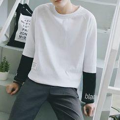Danjieshi - Two-Tone Long-Sleeve T-Shirt